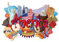 Krabbel die Architectuur en Cultuur van Amerika tonen royalty-vrije illustratie