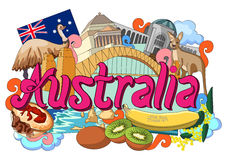 Krabbel die Architectuur en Cultuur van Australië tonen vector illustratie