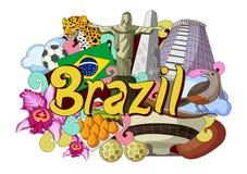 Krabbel die Architectuur en Cultuur van Brazilië tonen stock illustratie