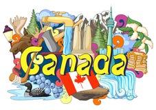 Krabbel die Architectuur en Cultuur van Canada tonen stock illustratie