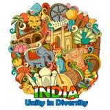 Krabbel die Architectuur en Cultuur van India tonen royalty-vrije illustratie