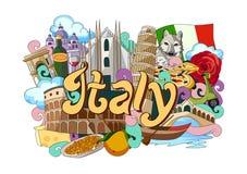 Krabbel die Architectuur en Cultuur van Italië tonen vector illustratie