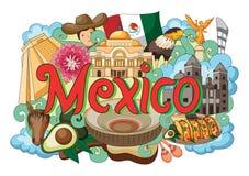 Krabbel die Architectuur en Cultuur van Mexico tonen vector illustratie