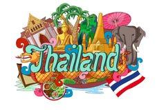 Krabbel die Architectuur en Cultuur van Thailand tonen royalty-vrije illustratie