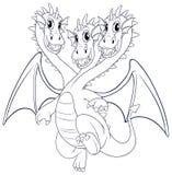Krabbel dierlijk karakter voor draak met drie hoofden Stock Afbeelding
