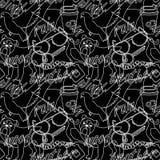 Krabbel en van letters voorziend abstract naadloos patroon Vector Illustratie