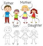 Krabbel grafisch van familie royalty-vrije illustratie