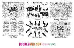 Krabbel Grote Reeks, Partij, lint, dier, gelukkig landbouwbedrijf, media, Zombie, H vector illustratie