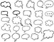 Krabbel het denken wolken, de bellen van het praatjebeeldverhaal stock illustratie