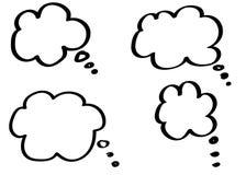 Krabbel het denken wolken, de bellen van het praatjebeeldverhaal Hand getrokken reeks royalty-vrije illustratie