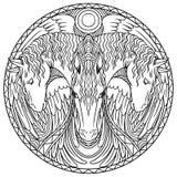 Krabbel het kleuren in een cirkel Drie Paarden royalty-vrije illustratie