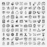 Krabbel het winkelen geplaatste pictogrammen Stock Afbeelding
