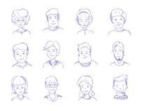 Krabbel menselijke hoofden, hand getrokken volwassen portretten, de karakters vectorreeks van schetsmensen Royalty-vrije Stock Foto