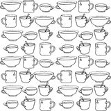 Krabbel naadloos patroon met hand getrokken koppen Stock Foto's