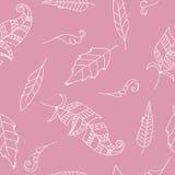 Krabbel naadloos patroon met veren Stock Afbeeldingen