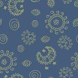 Krabbel naadloos patroon met zon, maan en sterren Royalty-vrije Stock Fotografie