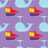 Krabbel naadloos patroon op het overzeese thema met walvis en zeilboot Royalty-vrije Stock Foto