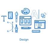 Krabbel op het onderwerp van ontwerp met pictogrammen Stock Foto's