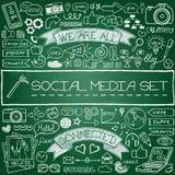 Krabbel sociale media geplaatste pictogrammen Stock Foto