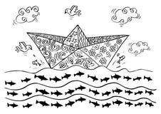 Krabbel van Document boten royalty-vrije illustratie