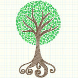 Krabbel van het Notitieboekje van de boom de Schetsmatige op Millimeterpapier Royalty-vrije Stock Fotografie