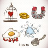 Krabbel vastgestelde elementen van Valentijnskaartendag Royalty-vrije Stock Afbeelding