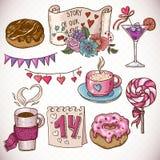 Krabbel vastgestelde elementen van Valentijnskaartendag en Huwelijk Royalty-vrije Stock Fotografie