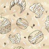 Krabbel vector naadloos patroon De vectorillustratie van de schetsstijl De uitstekende achtergrond van de Landhuiskoffie Stock Foto's