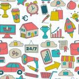 Krabbel vector naadloos patroon met bedrijfselementen Stock Foto