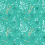 Krabbelachtergrond met appel, peer en sneeuwvlokken, naadloze patt Stock Afbeeldingen