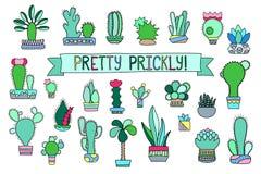 Krabbelcactus en succulente clipart Ingemaakte cactus en succulents pictogrammen stock illustratie