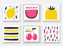Krabbelhand getrokken vruchten inzameling De zomerkaarten, markeringen, kaders met watermeloen, kers, ananas, citroen vector illustratie