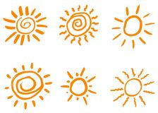 Krabbelhand getrokken zonnen Geïsoleerde vector, Stock Fotografie