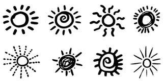 Krabbelhand getrokken zonnen Geïsoleerde vector, Royalty-vrije Stock Afbeelding