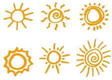 Krabbelhand getrokken zonnen Geïsoleerde vector, Royalty-vrije Stock Foto's