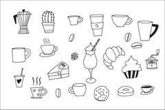 Krabbelhand met de krabbelreeks die van Koffiepictogrammen wordt getrokken royalty-vrije illustratie