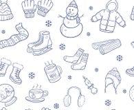 Krabbelhand van de winterelementen en objecten naadloos patroon wordt getrokken dat royalty-vrije illustratie