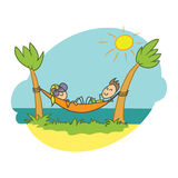 Krabbelillustratie, strandvakantie Stock Afbeeldingen