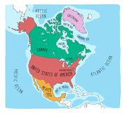 Krabbelkaart van Noord-Amerika vector illustratie