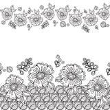 Krabbelkader met bloem in krabbel Getrokken hand Vector patroon Stock Foto's