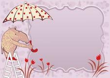Krabbelkader met leuke tapir en paraplu Stock Afbeelding