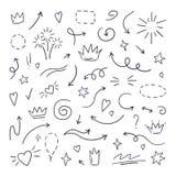Krabbellijn swash Highlighters van de nadruktekst, hand getrokken kwaststreek, kalligrafie onderstrepen Vector getrokken hand royalty-vrije illustratie