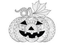 Krabbelontwerp van Halloween-pompoen voor Halloween-kaartuitnodigingen en volwassen kleurende boekpagina's voor antispanning stock illustratie