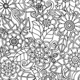 Krabbelpatroon met krabbels, bloemen en Paisley Royalty-vrije Stock Fotografie