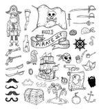 Krabbelpiraat elememts, vectorillustratie Royalty-vrije Stock Foto
