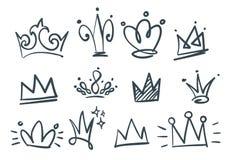 Krabbelreeks kronen stock illustratie