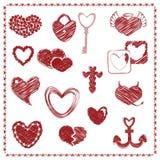 Krabbelreeks Rode Harten, de dagvector van Valentine Stock Afbeeldingen