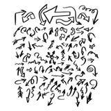 Krabbelreeks van pijlen en tekens de vectorhand D van de illustratieschets Royalty-vrije Stock Foto's
