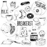 Krabbelreeks van voedsel voor ontbijt royalty-vrije illustratie