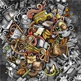 Krabbels grafisch terug naar Schoolillustratie Creatieve kunstachtergrond stock fotografie